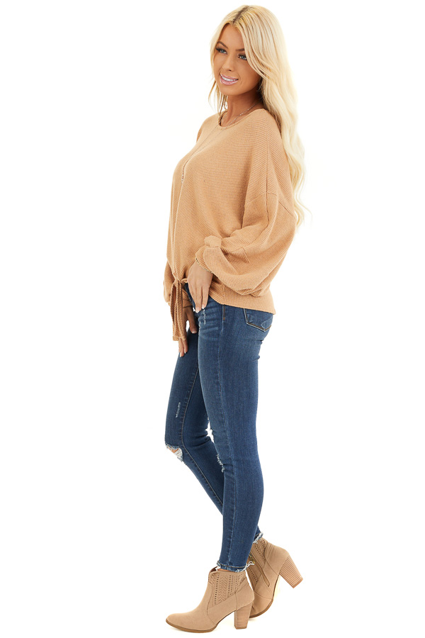 Desert Sand Ribbed Top with Front Tie and Bubble Sleeves side full body