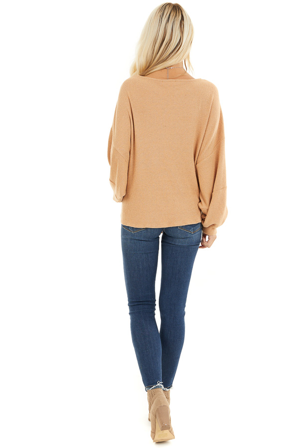 Desert Sand Ribbed Top with Front Tie and Bubble Sleeves back full body