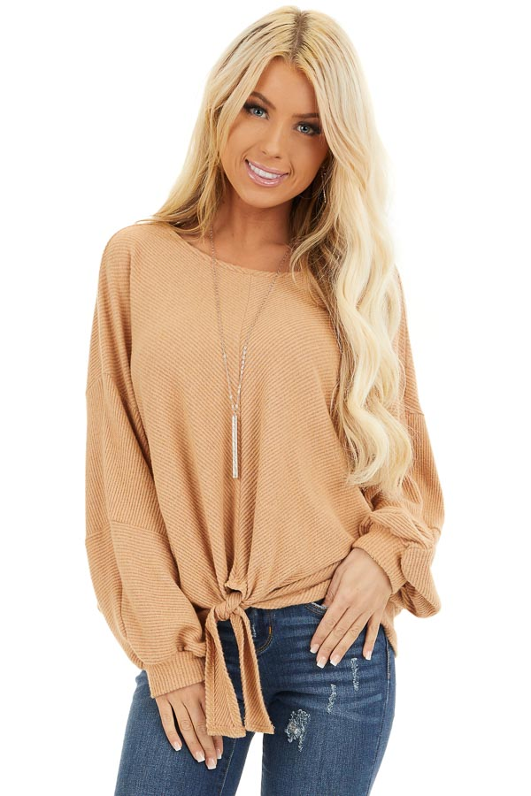 Desert Sand Ribbed Top with Front Tie and Bubble Sleeves front close up
