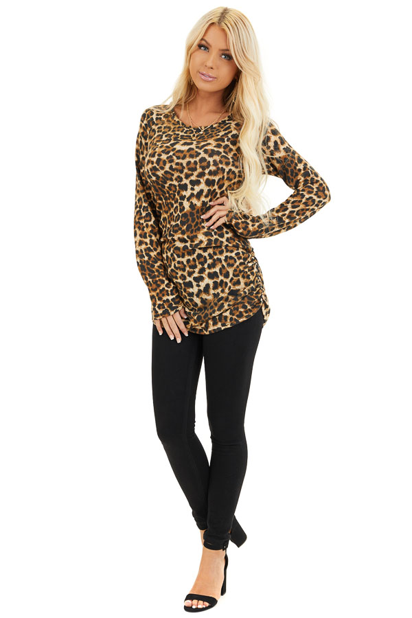 Camel Leopard Print Knit Tunic Top with Cinched Side Details front full body