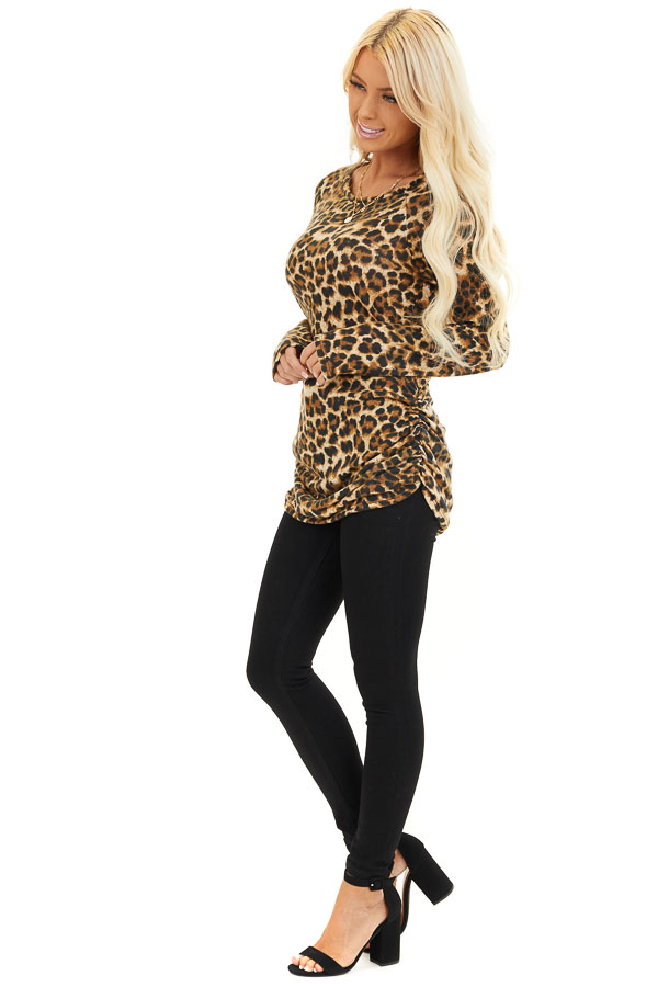 Camel Leopard Print Knit Tunic Top with Cinched Side Details side full body