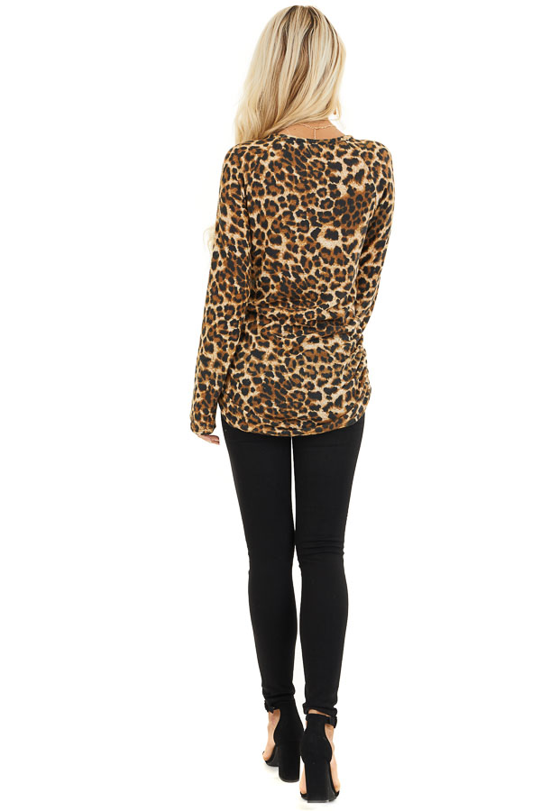 Camel Leopard Print Knit Tunic Top with Cinched Side Details back full body