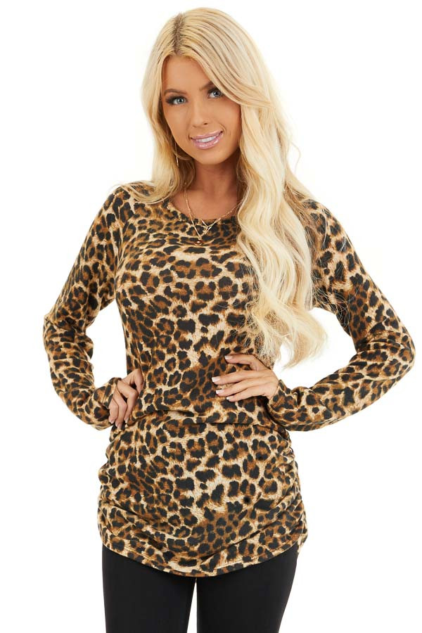 Camel Leopard Print Knit Tunic Top with Cinched Side Details front close up