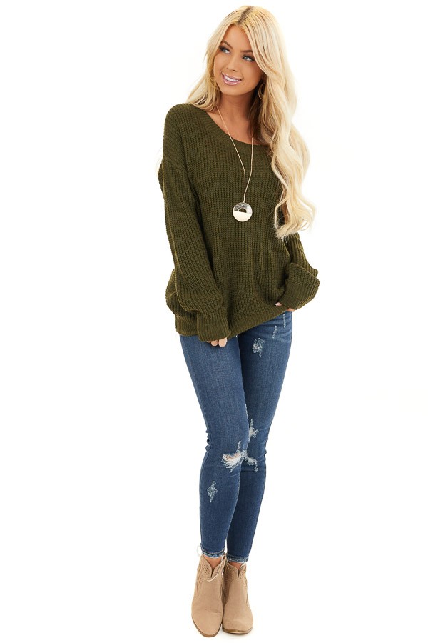 Forest Green Knit Sweater with Keyhole Back and Twist Detail front full body