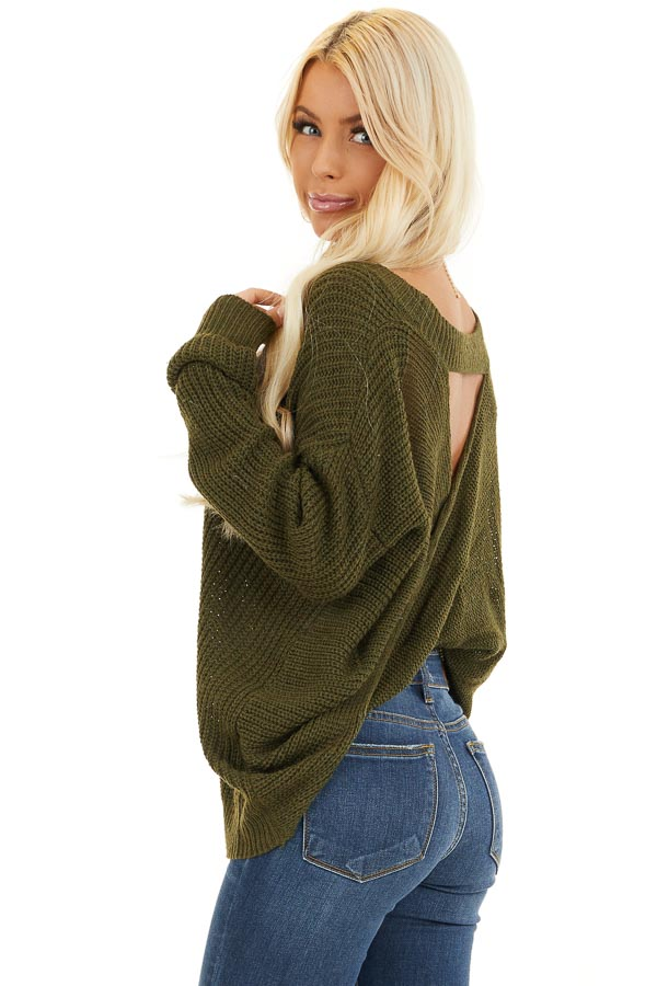 Forest Green Knit Sweater with Keyhole Back and Twist Detail back side close up