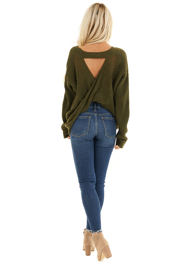 Forest Green Knit Sweater with Keyhole Back and Twist Detail back full body