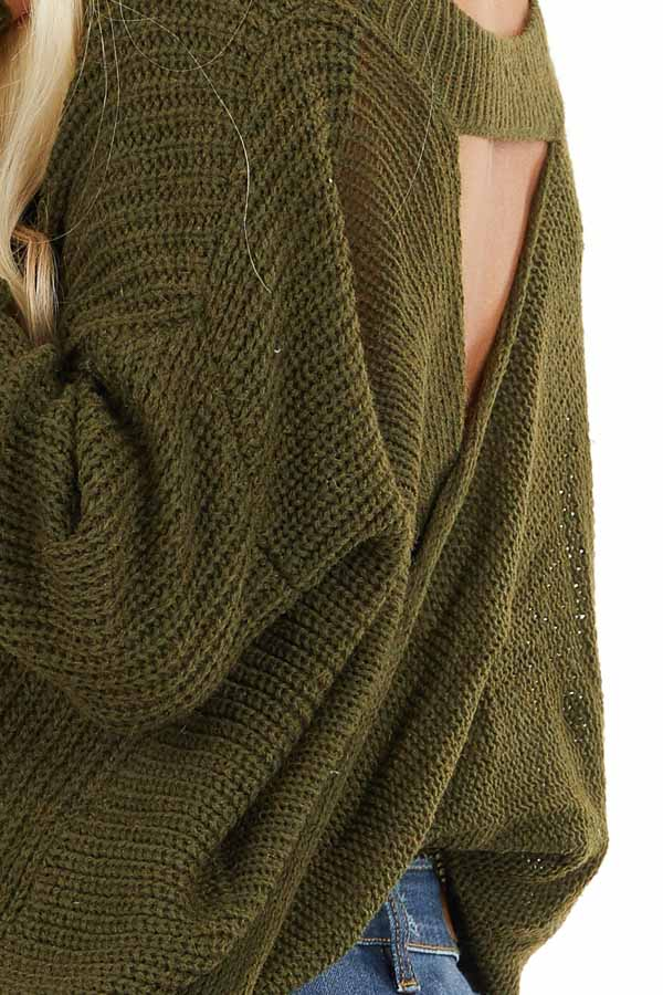 Forest Green Knit Sweater with Keyhole Back and Twist Detail detail