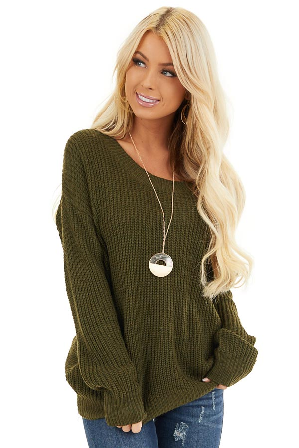Forest Green Knit Sweater with Keyhole Back and Twist Detail front close up