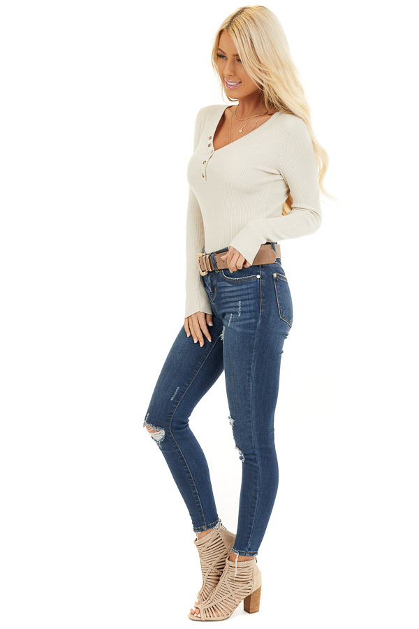 Ivory Ribbed Henley Top with Front Button Details side full body