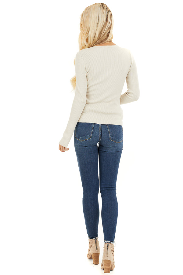 Ivory Ribbed Henley Top with Front Button Details back full body