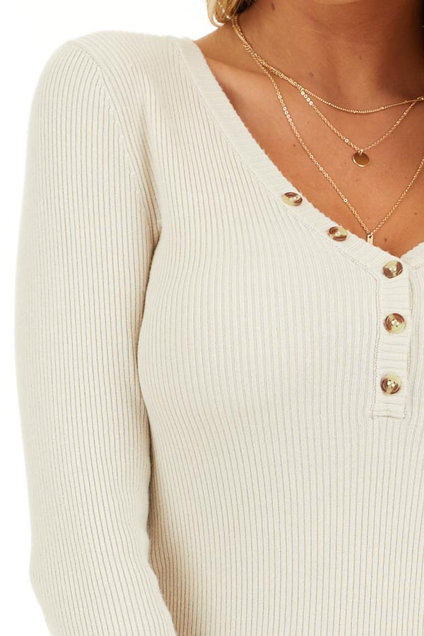 Ivory Ribbed Henley Top with Front Button Details detail