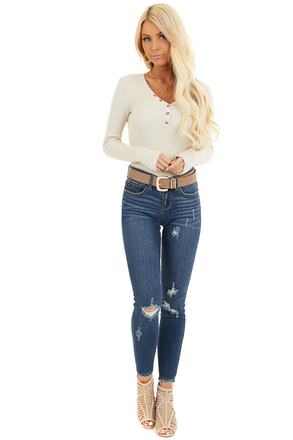 Ivory Ribbed Henley Top with Front Button Details front full body