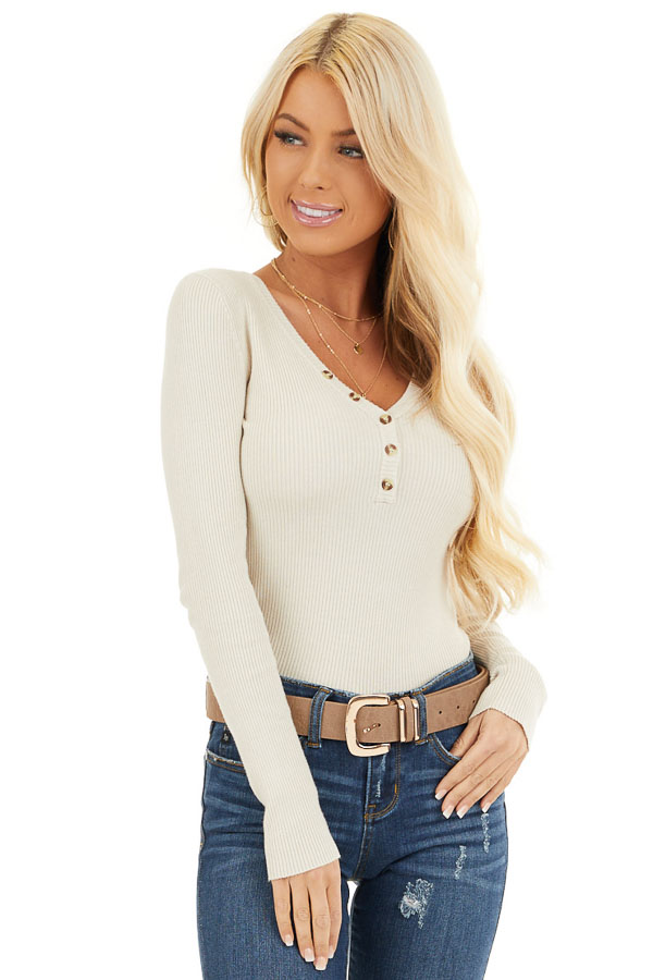 Ivory Ribbed Henley Top with Front Button Details front close up