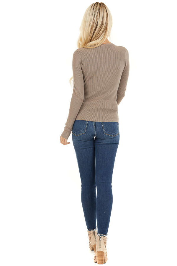 Taupe Ribbed Henley Top with Front Button Details back full body