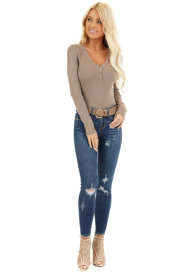 Taupe Ribbed Henley Top with Front Button Details front full body