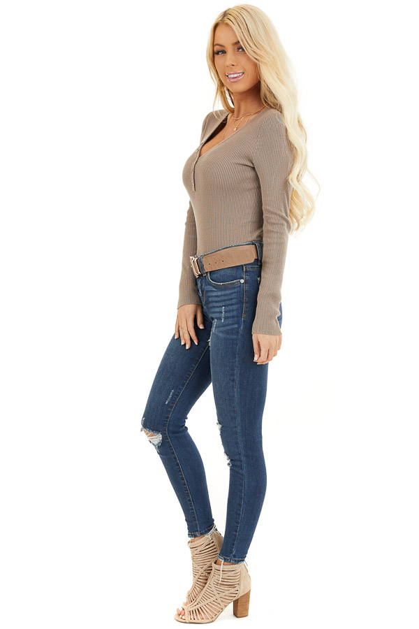 Taupe Ribbed Henley Top with Front Button Details side full body