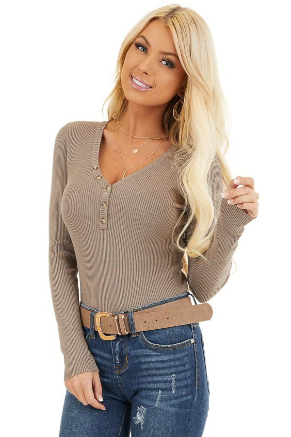 Taupe Ribbed Henley Top with Front Button Details front close up