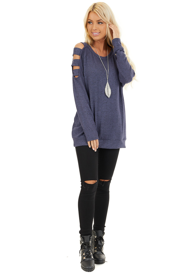 Dusty Blue Cutout Cold Shoulder Long Sleeve Soft Knit Top front full body