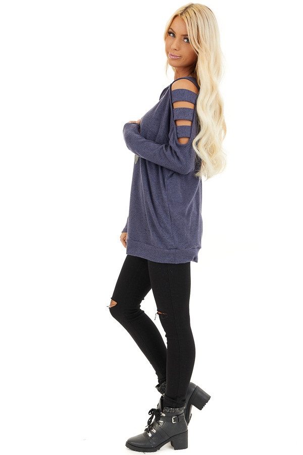 Dusty Blue Cutout Cold Shoulder Long Sleeve Soft Knit Top side full body