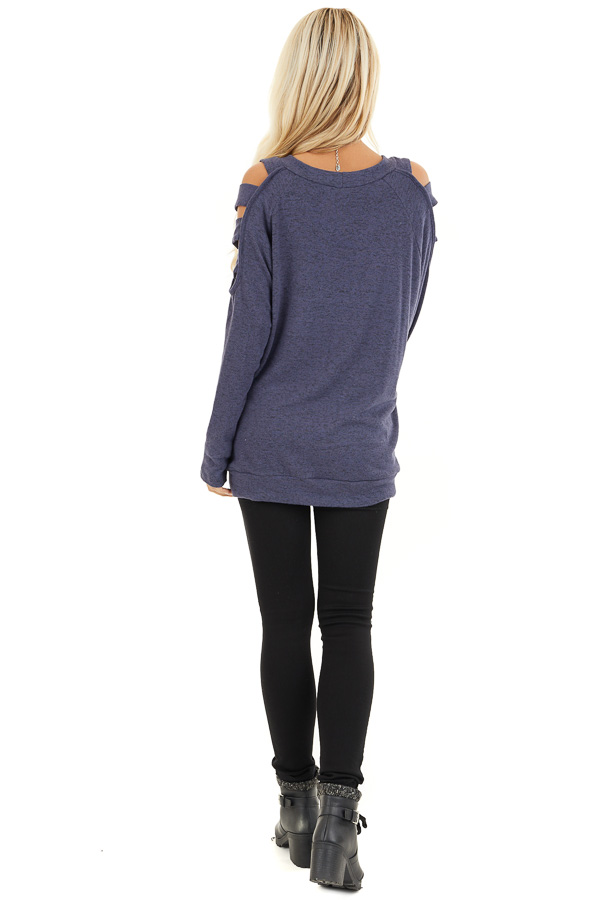 Dusty Blue Cutout Cold Shoulder Long Sleeve Soft Knit Top back full body