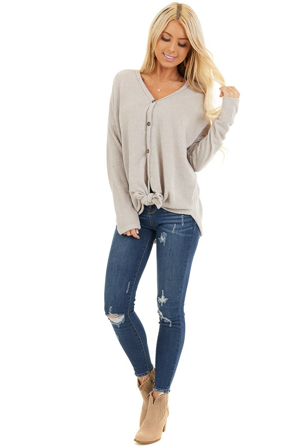 Oatmeal V Neck Knit Top with Button and Tie Details front full body