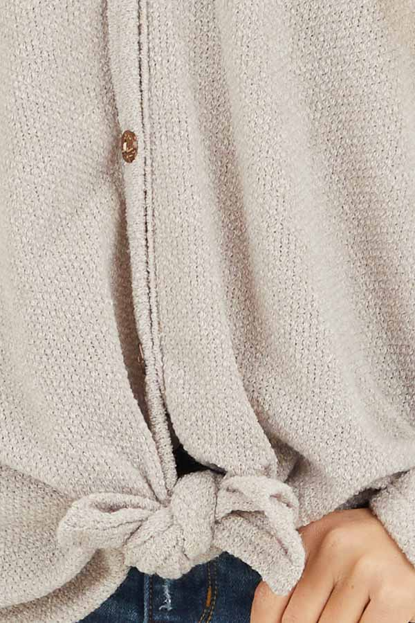 Oatmeal V Neck Knit Top with Button and Tie Details detail