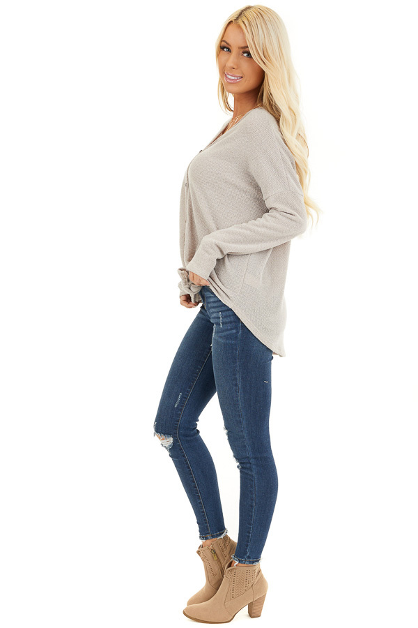Oatmeal V Neck Knit Top with Button and Tie Details side full body