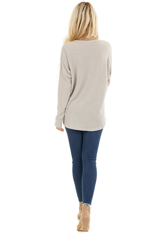 Oatmeal V Neck Knit Top with Button and Tie Details back full body