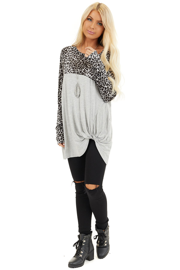 Dove Grey and Black Animal Print Top with Front Twist Detail front full body