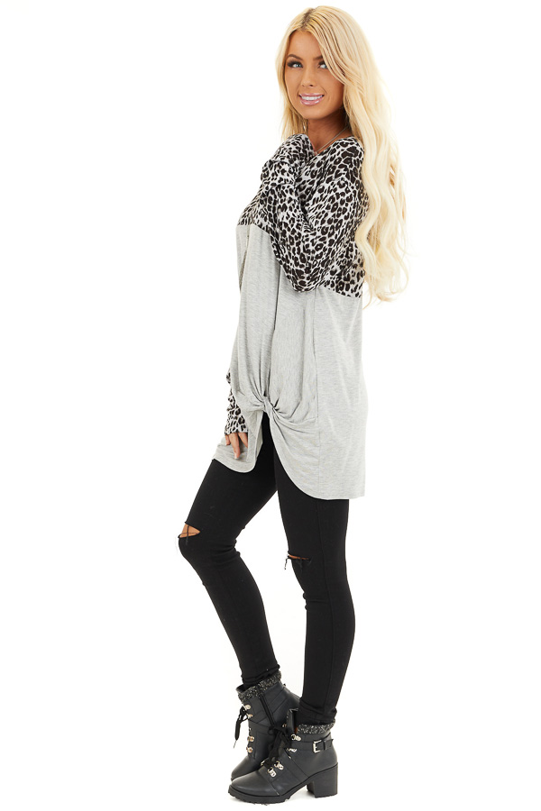 Dove Grey and Black Animal Print Top with Front Twist Detail side full body