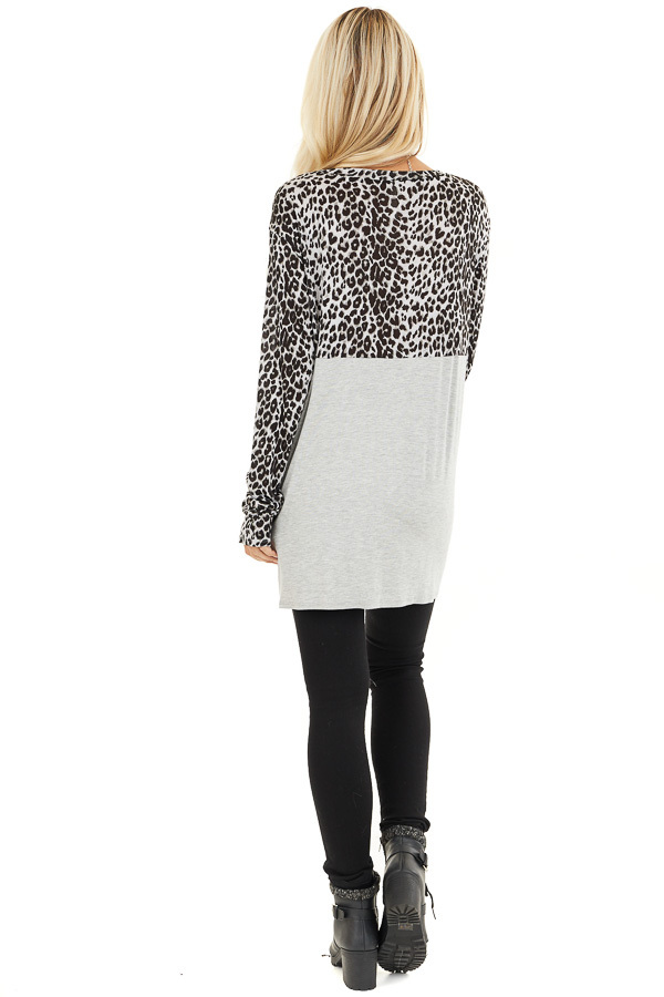 Dove Grey and Black Animal Print Top with Front Twist Detail back full body
