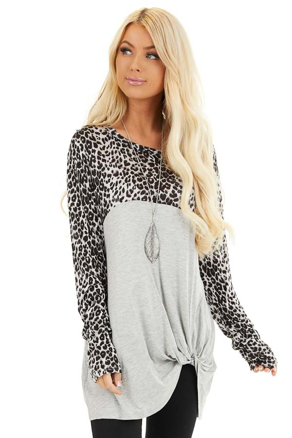 Dove Grey and Black Animal Print Top with Front Twist Detail front close up
