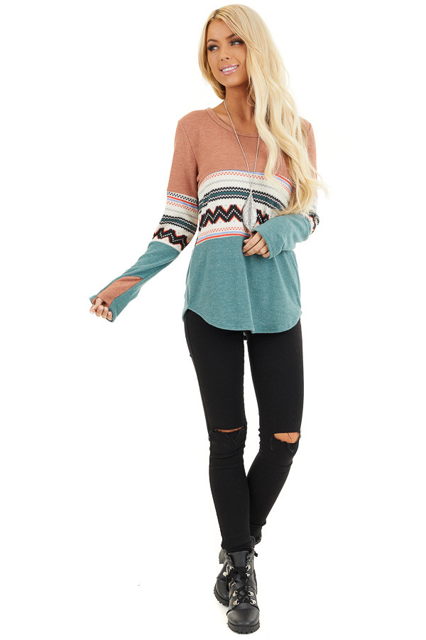 Peach and Jungle Green Color Block Soft Knit Top front full body