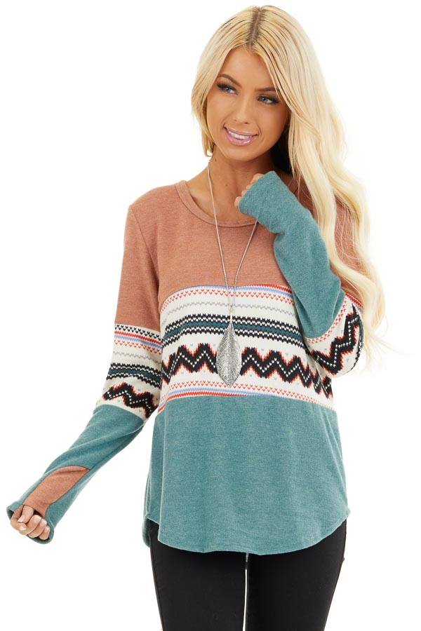 Peach and Jungle Green Color Block Soft Knit Top front close up