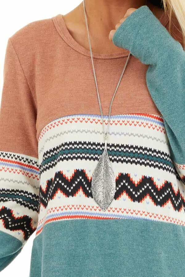 Peach and Jungle Green Color Block Soft Knit Top detail