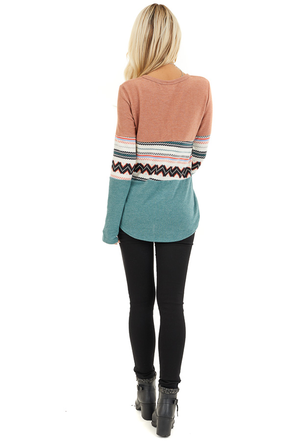 Peach and Jungle Green Color Block Soft Knit Top back full body