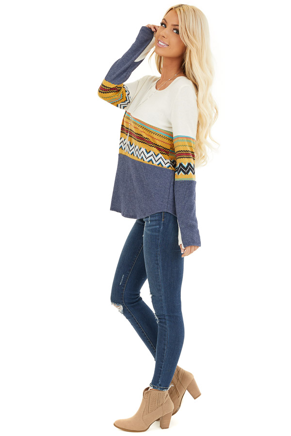 Ivory and Navy Color Block Abstract Print Soft Knit Top side full body
