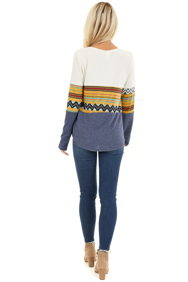 Ivory and Navy Color Block Abstract Print Soft Knit Top back full body