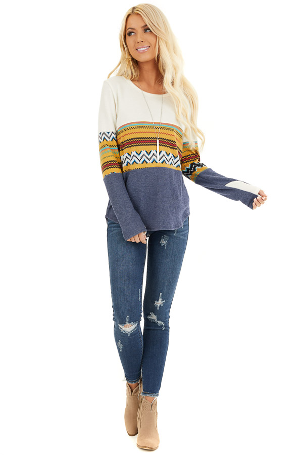 Ivory and Navy Color Block Abstract Print Soft Knit Top front full body
