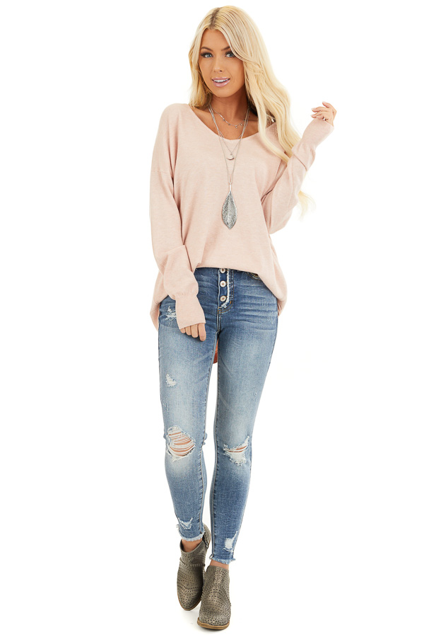 Blush Pink V Neck Top with Criss Cross Back Detail front full body