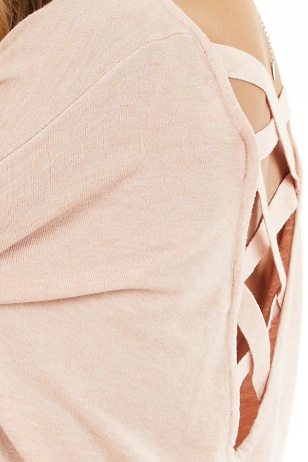 Blush Pink V Neck Top with Criss Cross Back Detail detail
