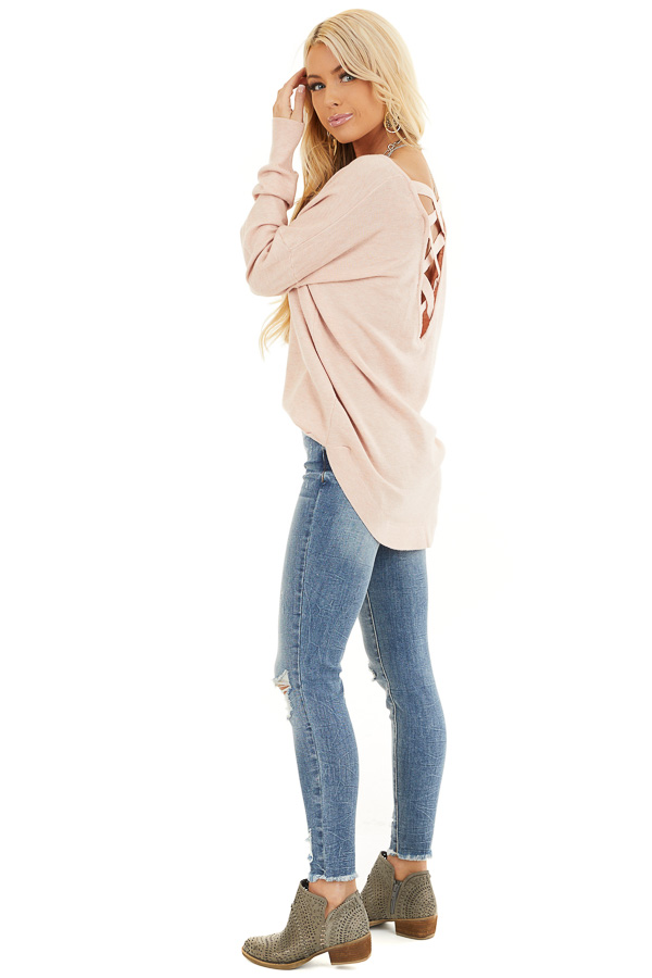 Blush Pink V Neck Top with Criss Cross Back Detail side full body