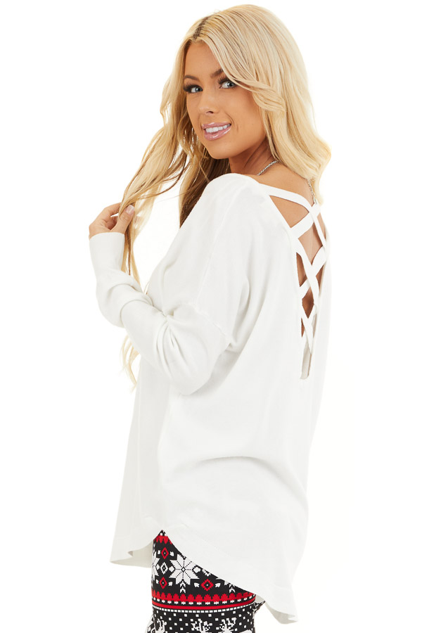 Pearl White V Neck Top with Criss Cross Back Detail back side close up