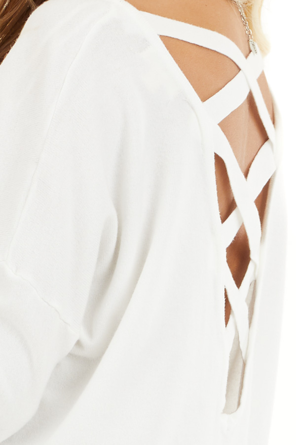 Pearl White V Neck Top with Criss Cross Back Detail detail