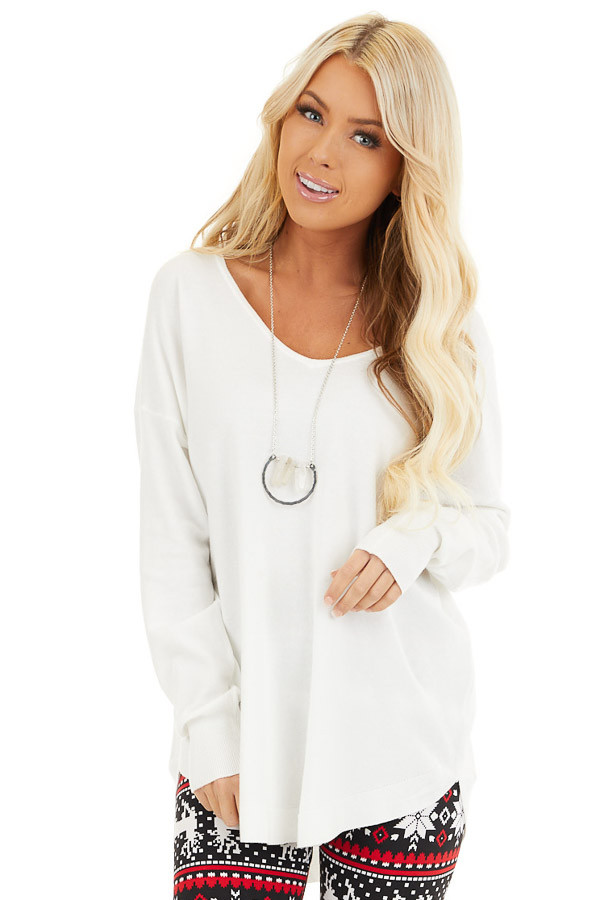 Pearl White V Neck Top with Criss Cross Back Detail front close up
