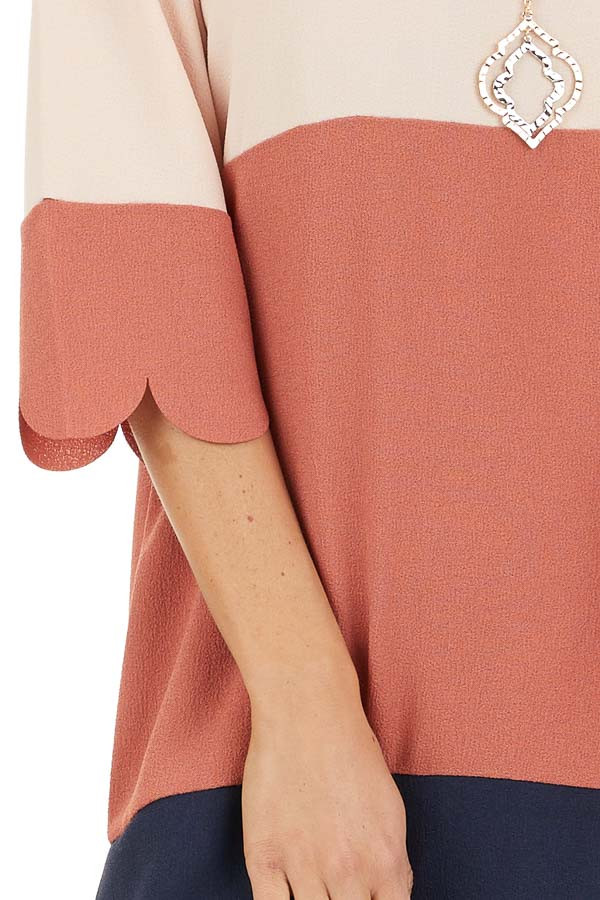 Dusty Rose and Navy Color Block Dress detail
