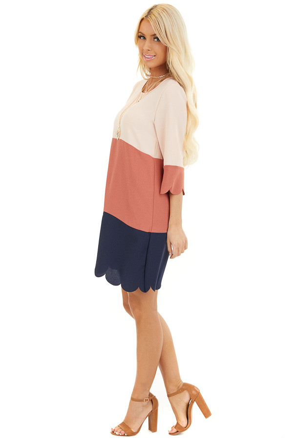 Dusty Rose and Navy Color Block Dress side full body