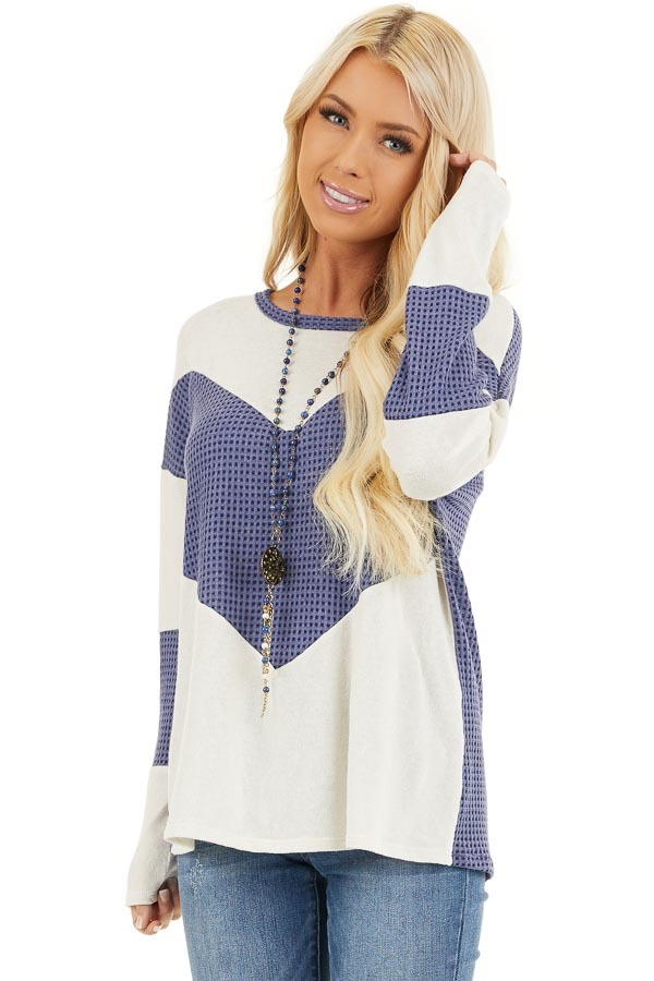 Dusty Blue and Ivory Color Block Long Sleeve Top front close up