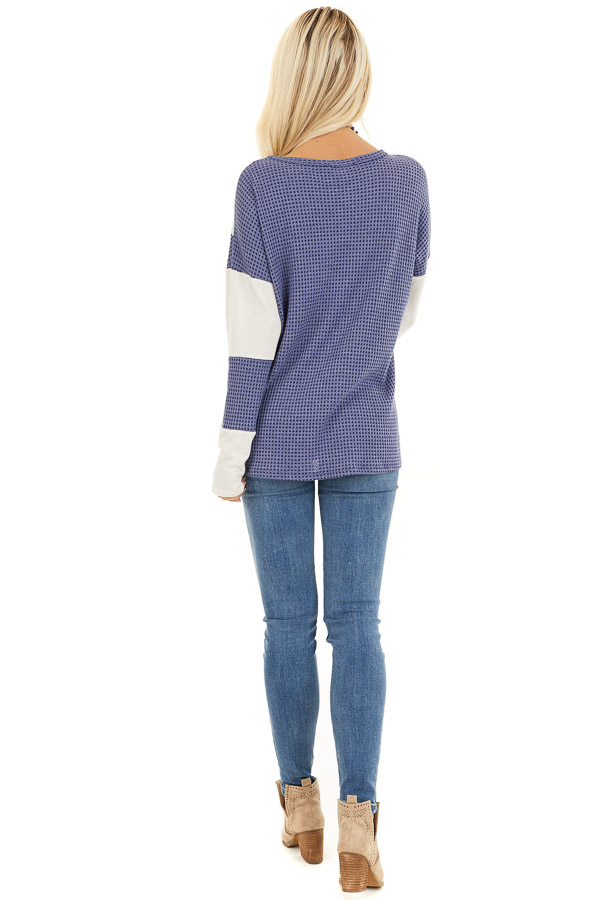 Dusty Blue and Ivory Color Block Long Sleeve Top back full body