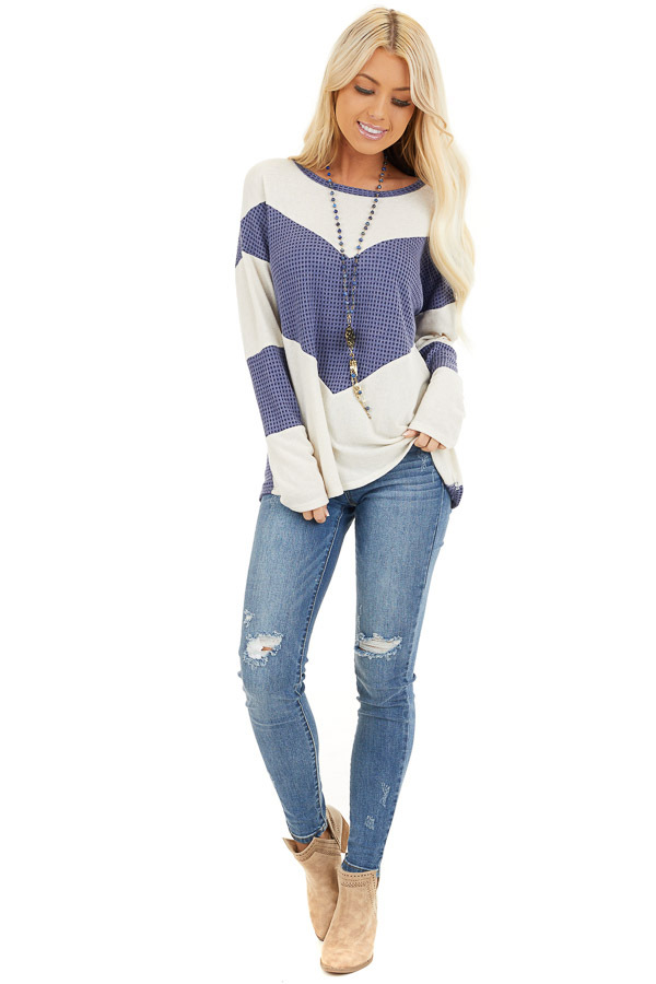 Dusty Blue and Ivory Color Block Long Sleeve Top front full body
